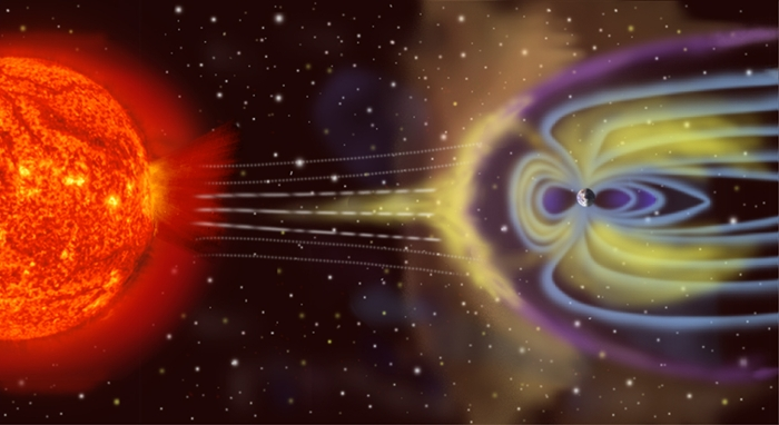 <strong>Solar storms.</strong> Named after the Russian physicist Anatoly Vlasov, the Vlasiator offers six-dimensional massive scale simulations of the earth's magnetosphere. Courtesy NASA.