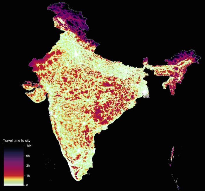 <strong>Ease of access</strong> to cities generally correlates to countries with high income. But even though India has a relatively low GDP per capita, its high population density and numerous cities mean that commute times are almost universally below one hour. Courtesy Daniel Weiss, University of Oxford.