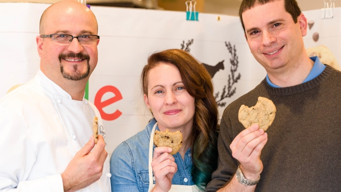<strong>Moment of truth.</strong> John Karbowski, Jeanette Harris and Daniel Golovin sample their smart cookies. Courtesy Google.