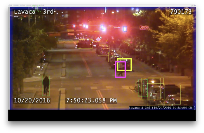<strong>A new deep learning tool</strong> uses raw traffic camera footage from City of Austin cameras to recognize objects – people, cars, buses, trucks, bicycles, motorcycles and traffic lights – and characterize how those objects move and interact. Courtesy TACC.