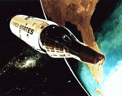 <strong>Spy station.</strong> Planned during the Cold War 1960s, the Manned Orbiting Laboratory (MOL) would have spied on the Soviet Union. Scientists recently re-examined the health risks its astronauts might have faced. Conceptual drawing courtesy NASA.