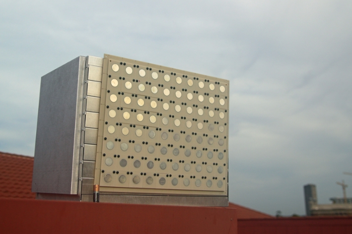 <strong>This massive MIMO</strong> base station has 80 antennas, a huge increase over a typical 4G base station which has only a dozen. Courtesy R. Doost-Mohammady/Rice University.