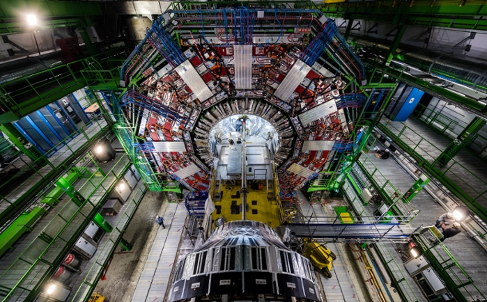 <strong>The Compact Muon Solenoid</strong> (CMS) is a general-purpose detector at the Large Hadron Collider (LHC), which is the world's largest and most powerful particle collider. The goal of the CMS experiment is to investigate a wide area of physics ranging from studying the Higgs boson to searching for extra dimensions and particles that could make up dark matter. Courtesy CERN.