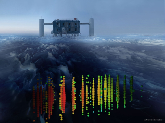 <strong>The IceCube Neutrino Observatory</strong> facility sits at the South Pole above an array of thousands of photodetectors. The sensors are deployed on strings of 60 modules each at depths between 4,750 to 8,040 feet into holes melted in the ice using a hot water drill. IceCube is designed to look for point sources of nearly-invisible, high-energy neutrino particles. Courtesy IceCube Collaboration, U. Wisconsin, National Science Foundation.