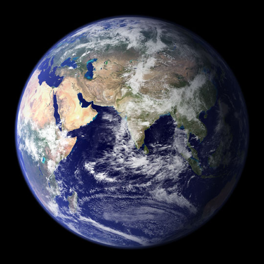 <strong>Inspiring view.</strong> A photo of the Earth from space, like this one, inspired Zhu to pursue her current career. Courtesy NASA Goddard Space Flight Center.