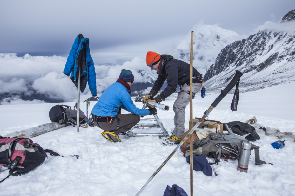 <strong>Raksha Roy</strong> is a developer for ICIMOD, an NGO that supports sustainable development in the Hindu Kush Himalayas. Here, scientists collect cryosphere data in the Langtang Valley, Nepal. Courtesy Jitendra Raj Bajracharya/ICIMOD.