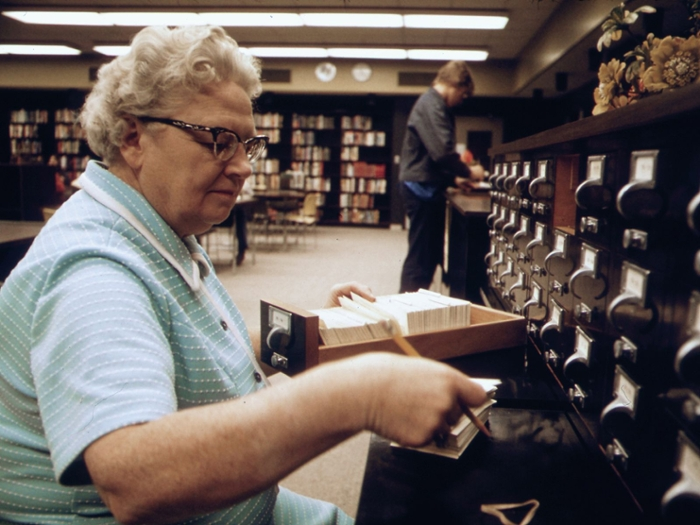 <strong>Once upon a time</strong> when people needed to know whether it was Ted Danson or Tom Selleck who starred in the Smokey & the Bandit* film franchise, they had to consult something called the card catalog. At the library. Staffed by a human. Courtesy US National Archives.