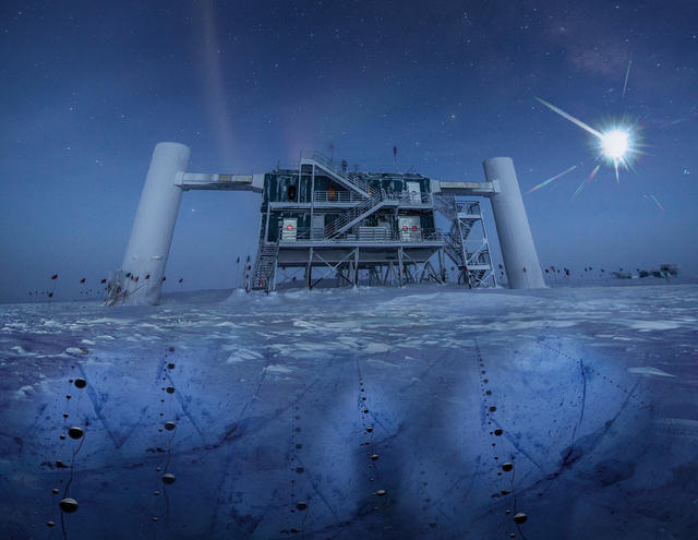 <strong> South Pole. </strong> Neutrinos are detected by the sensors in the ice below the IceCube Lab. Courtesy IceCube/NSF.