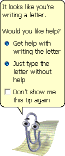 <strong>Clippy</strong>, the (widely reviled) animated assistant for Microsoft Office 97, is an early example of machine learning. Wang notes, however, that because Clippy is based on a Bayesian network, not everyone may agree. Courtesy Microsoft.