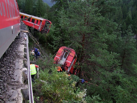 <strong>Off the rails.</strong> MeteoSwiss alerted populations about heavy rainfall the day before a landslide that affected Alpine railways and injured 11 people. Without the warning, damage may have been worse. Courtesy Medienbericht der Kantonspolizei Graubünden.