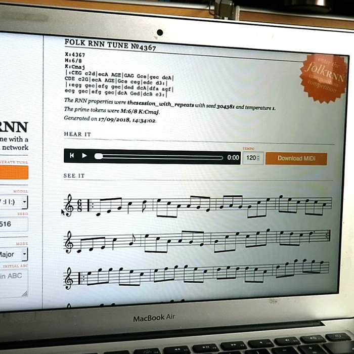 <strong>Try it yourself.</strong> Visitors to folkrnn.org can create their own AI generated tune using the interactive engine the researchers created. Courtesy KTH.