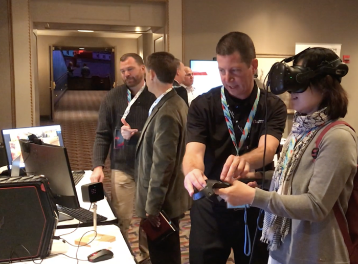 <strong>Virtual recruitment.</strong> Employers are finding that virtual reality is a good way to attract potential employees at job fairs—whether through skill simulation or an in-depth tour of corporate culture. Photo by Science Node.