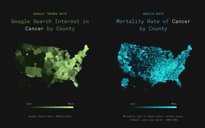 <strong>Cause or effect?</strong> The green map on the left shows search interest in cancer by county in the US, while the blue map on the right shows county mortality rates from cancer. Courtesy Google News Lab.