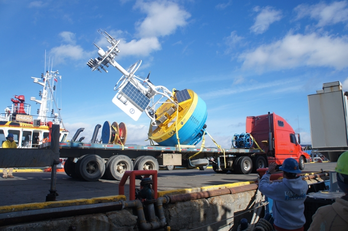 <strong>Big buoy.</strong> A Global Southern Ocean Surface Buoy waits for loading in Chile before the Southern Ocean Array deployment cruise. Credit: Bob Weller, Woods Hole Oceanographic Institution.