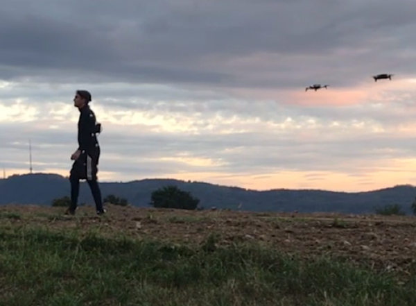 <strong>Follow the actor.</strong> Drones follow an actor across a landscape, anticipating his movements in real-time and automatically adjusting their position so the target is always filmed from two angles. Courtesy ETH Zurich / Tobias Nägeli.