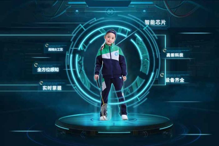 <strong>Your uniform is watching.</strong> New smart school uniforms contain computer chips that can verify if students attend classes, and can even detect when they fall asleep at their desks. Courtesy Guizhou Guanyu Technology.