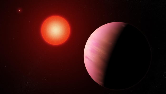 <strong>Exoplanet explorers.</strong> Citizen scientists used data from the retired Kepler space telescope to discover K2-288Bb. The exoplanet, about 226 light-years away, is about twice the size of Earth and orbits within the habitable zone of its star, meaning liquid water may exist on its surface. Courtesy NASA Goddard Space Flight Center/Francis Reddy.
