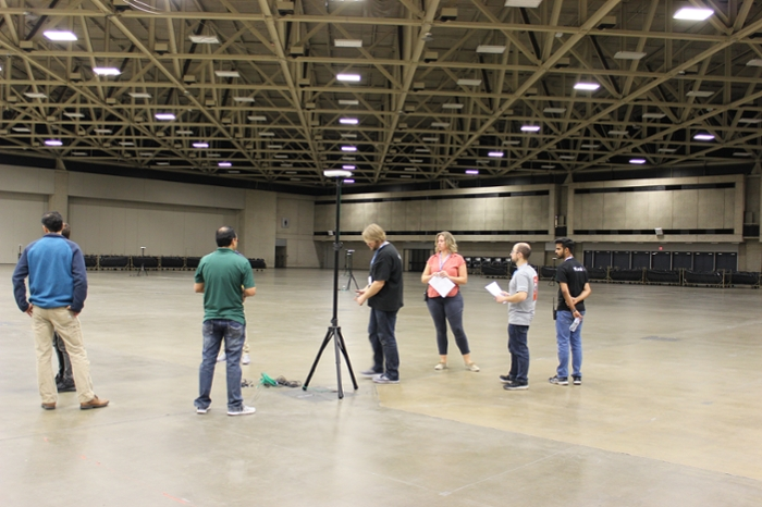 <strong>Complete coverage.</strong> Loren Adams and other members of the SCinet wireless team installed more than 300 wireless access points, providing coverage across 1 million square feet of exhibit space in the Kay Bailey Hutchison Convention Center Dallas. Courtesy WINS.