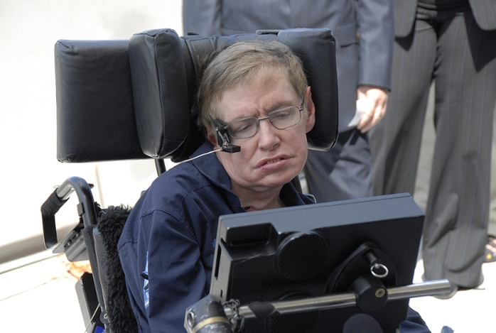 <strong> Direct from the brain.</strong> Physicist Stephen Hawking relied upon a computer-mediated speech synthesizer to communicate, but neurosurgeons have now developed a method to translate brain activity directly into intelligible speech. Courtesy NASA/Kim Shiflett.