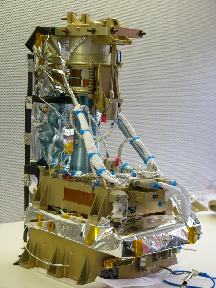 <strong>The Asteroid Framing Camera</strong> is equipped with seven spectral filters from the visible to the near-infrared for gathering information, as well as an eighth clear filter for navigation and broadband surface science. Courtesy Max Planck Institute for Solar System Research.