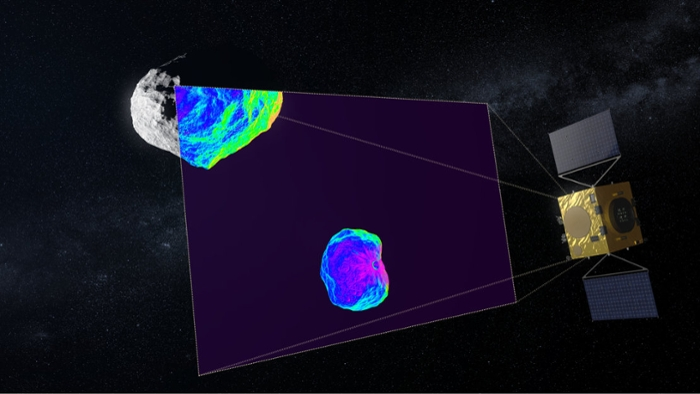<strong>Impact scan.</strong> After the US DART spacecraft crashes into the Didymoon asteroid to divert its orbit, the Hera mission spacecraft will use infrared to scan the resulting impact crater asteroid. Courtesy ESA Science Office.