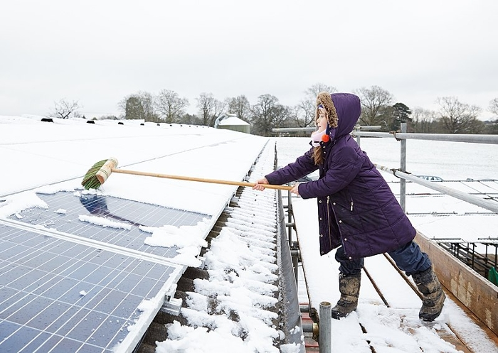 <strong>Snow power.</strong> A new device that can generate electricity from falling snow may increase the output of solar panels by counteracting the dip in energy production when panels are covered with snow. Courtesy 1010 Climate Action. <a href='https://creativecommons.org/licenses/by/2.0/deed.en'>(CC BY 2.0)</a>