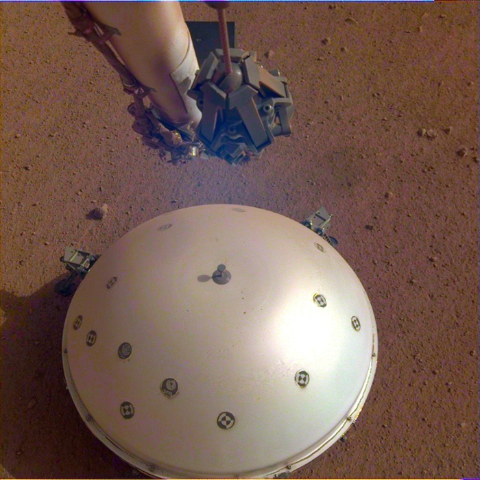 <strong>Quake detector.</strong> InSight's seismometer recorded a seismic event on April 26th, the lander's 128th Martian day, or sol. The event resembles moonquakes detected on the lunar surface during the Apollo missions. Courtesy NASA/JPL-Caltech.