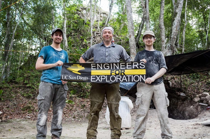 <strong>Exploring engineers.</strong> Ph.D. student Peter Tueller, Professor Curt Schurgers, and Ph.D. student Quentin Gautier at the E4E Guatemala field site. Courtesy Quentin Gautier.