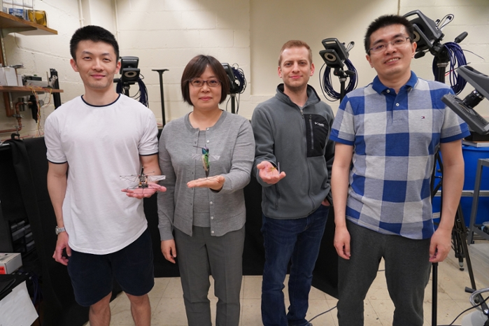 <strong>Xinyan Deng</strong> and her team of researchers. From left to right: Fan Fei, Xinyan Deng, Jesse Roll, Zhan Tu. Courtesy Jared Pike, Purdue University.