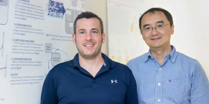 <strong>Speeding up research.</strong> Daniel Russo (l) and Hao Zhu (r) created a new algorithm to test the oral toxicity of compounds, using only public data and computation—no animals involved. Courtesy Rutgers FAS.