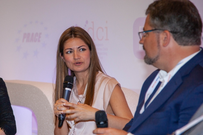 <strong>Zoe Cournia</strong> speaking at the PRACEdays/EuroHPC week conference in Poznan, Poland, May 2019. Courtesy PRACE.