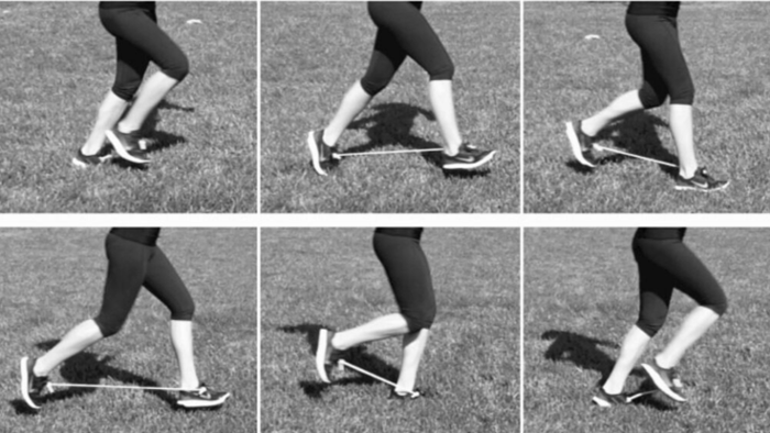 <strong>A runner demonstrates</strong> use of the exotendon, which can help people run faster. Courtesy Cole Simpson.