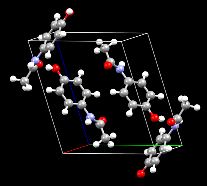 <strong>Paracetamol molecules</strong>—which form the popular analgesic, Tylenol—are known to crystallize in at least nine different forms. Wang is developing a computational model to accurately predict the stability and interconversions between these forms. Such models facilitate cheaper, safer and more efficient medicines. Courtesy Feng Wang and Ryan Rogers.