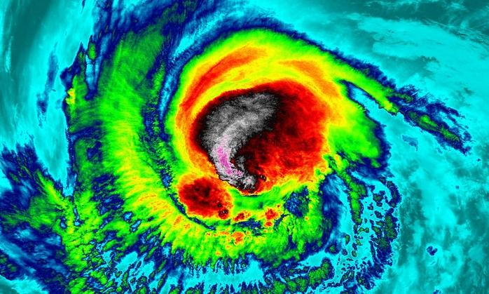<strong>Hurricanes can suddenly intensify</strong> just before landfall. Sending drones deep into the eye to collect data may improve real-time predictions. Courtesy NASA/NOAA GOES Project.