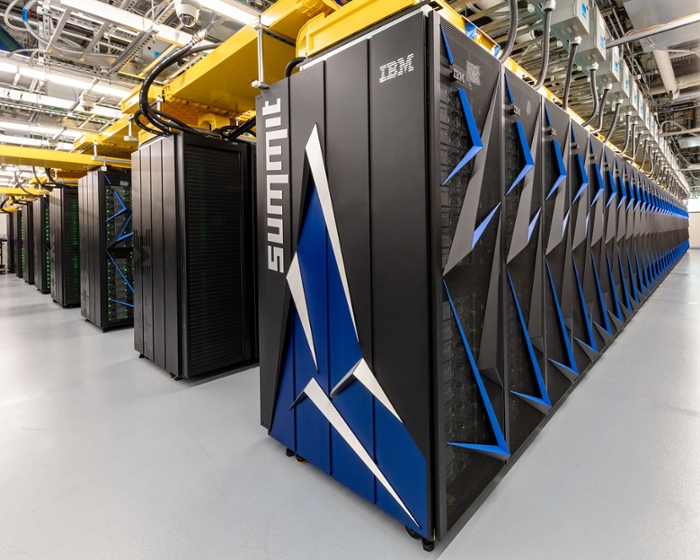 <strong>The Summit supercomputer</strong> at the Oak Ridge National Laboratory is the fastest in the world. NASA scientists used its top speed to model complex turbulent flows at a resolution of up to 10 billion elements. Courtesy ORNL.