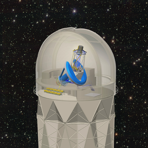 <strong>DESI position in the Mayall Telescope dome</strong>, showing the focal plane and corrector barrel (dark gray) at the top of the telescope and the spectrographs (shown in yellow) below the telescope. Courtesy DESI Collaboration.
