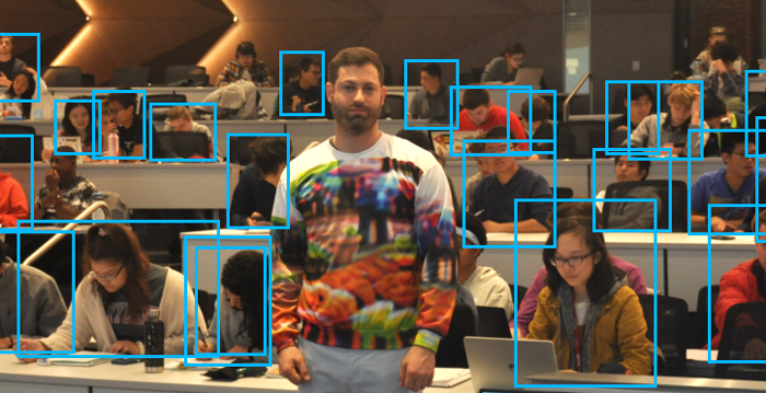 <strong>Invisibility sweatshirt.</strong> Wearing clothing printed with a pattern especially designed to fool AI means that you might be able to escape recognition by public surveillance cameras. Courtesy Tom Goldstein, University of Maryland.