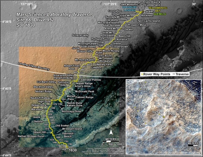 <strong> As the Rover drives across the Martian surface </strong> the DAN tool takes measurements along the way. This map shows the route driven by the Curiosity Rover through the 1830 Martian day, or sol, of the Rover's mission on Mars. Courtesy NAS/JPL-Caltech/University of Arizona.