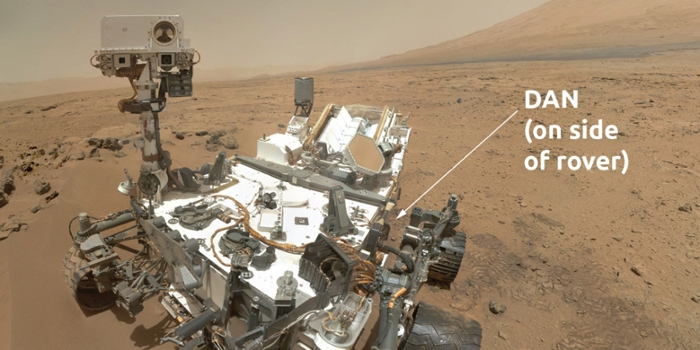 <strong>Did Mars ever support microbial life?</strong> The DAN tool on the back of the Mars Curiosity Rover measures hydrogen in Mars' soil, which could indicate the presence of water—and the means to support life. Courtesy NASA.