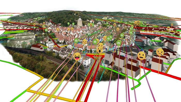 <strong>Emotion-driven factors.</strong> A simulation of the German city of Herrenberg incorporates residents emotional responses to different areas. For example, did locations feel comfortable, unsafe, or ugly? Courtesy HLRS.