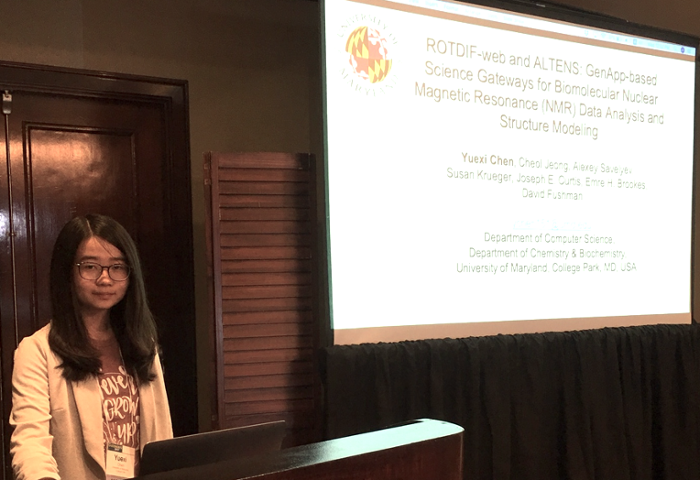 "<strong>Yuexi Chen</strong> presenting ""ROTDIF-web and ALTENS: GenApp-based Science Gateways for Biomolecular Nuclear Magnetic Resonance (NMR) Data Analysis and Structure Modeling"" at Gateways 2019."