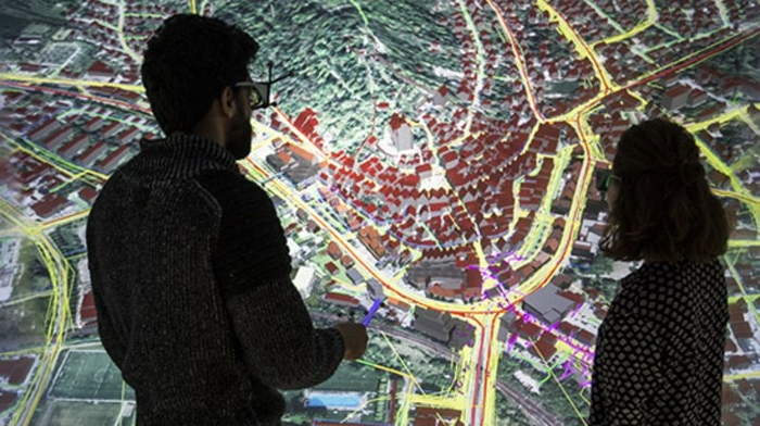 <strong>An immersive virtual reality experience</strong> of the digital twin helps city planners better assess and evaluate designs and plans, and encourages the public to participate in city planning. Courtesy HLRS.