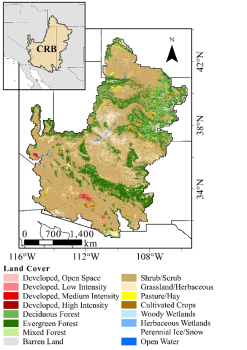 <strong>The Colorado River Basin</strong> is located in the southwestern US. High-resolution satellite data of land cover is used by the HPC model to estimate surface interactions with the atmosphere. Courtesy Kristen Whitney.