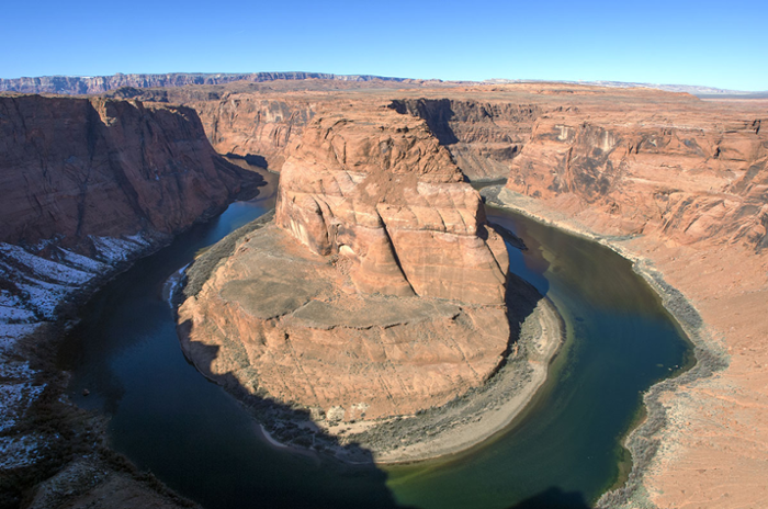 <strong>Many existing hydrological models</strong> treat land surfaces as if they're flat. But important geographical features in the Colorado River Basin could drastically affect water flow. Shown: The Colorado River at Horseshoe Bend in the Grand Canyon National Park. Courtesy Central Arizona Project.