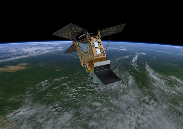 <strong>Pollution detector.</strong> A monitoring instrument on board the Sentinel-5 satellite captures daily snapshots of chemical species in the atmosphere. Courtesy European Space Agency.