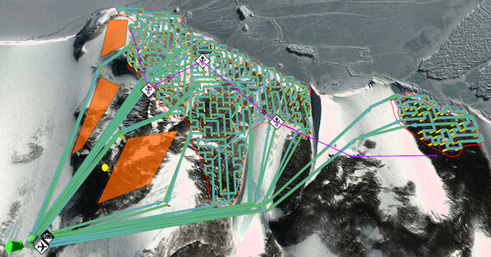 <strong>Visualization of autonomous drone routes</strong> determined by the path-planning algorithm over the Adélie penguin colony at Cape Crozier in Antarctica, which covers roughly 2 square kilometers. Courtesy Kunal Shah.