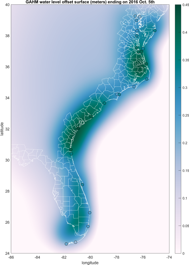 <strong>Water level anomaly</strong> around Hurricane Matthew based on Asher's study data. Numeric labels indicate the difference (in meters) between the OI water level anomaly surface and the simulated mean water level at the site; white lines are coastline and county boundaries. Credit: Taylor Asher, UNC.